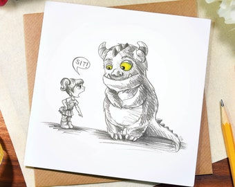 Greeting card / any occasion / cute / funny / cheeky / girl /monster / sit / note / thank you / sketch / art / pencil / drawing / Elska