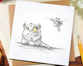 Greeting card / any occasion / cute / funny / cheeky / monster / sit / birthday /note / thank you / sketch / art / pencil / drawing / Elska