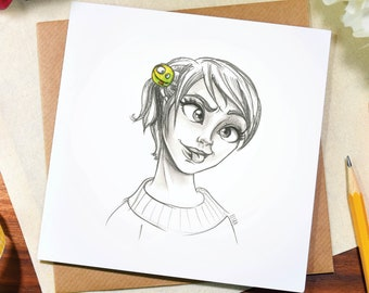 Silly greeting card / any occasion / cute / funny / birthday / thank you / note / illustration / art / pencil / drawing / Elska / Blank