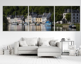 """Triptych """"Port-Launay"""", Finistère, Brittany, prints on canvases mounted on chassis. FAG0474"""