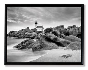 The Pontusval lighthouse, fine art on Alu Dibond laminated and mounted in a crate American