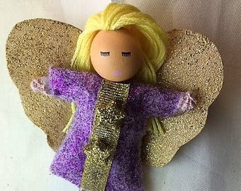 Hanging angel with gold wings purple for girls