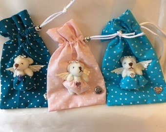 Scented pouch with teddy bear decoration