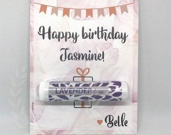Happy Birthday Card - {Handmade Customizable Happy Birthday Card with Organic Lip Balm Gift}
