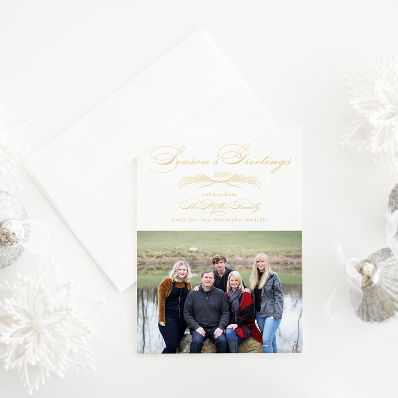 holiday photo card Simple and elegant holiday card with photo Married and Merry Christmas card elegant photo card classic photo card