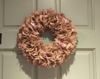 Burlap and fabric wreath