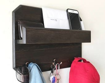 Woodymood Lovely Wall Organizer Shelf, Key Rack ,Coat Hooks, Mail Holder , Dark Brown