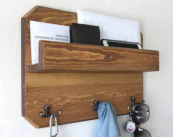 Woodymood Lovely Wall Organizer Shelf, Key Rack ,Coat Hooks, Mail Holder , Natural