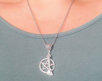 pentagram necklace, witch jewelry, pagan necklace, broom witch with pentacle charm