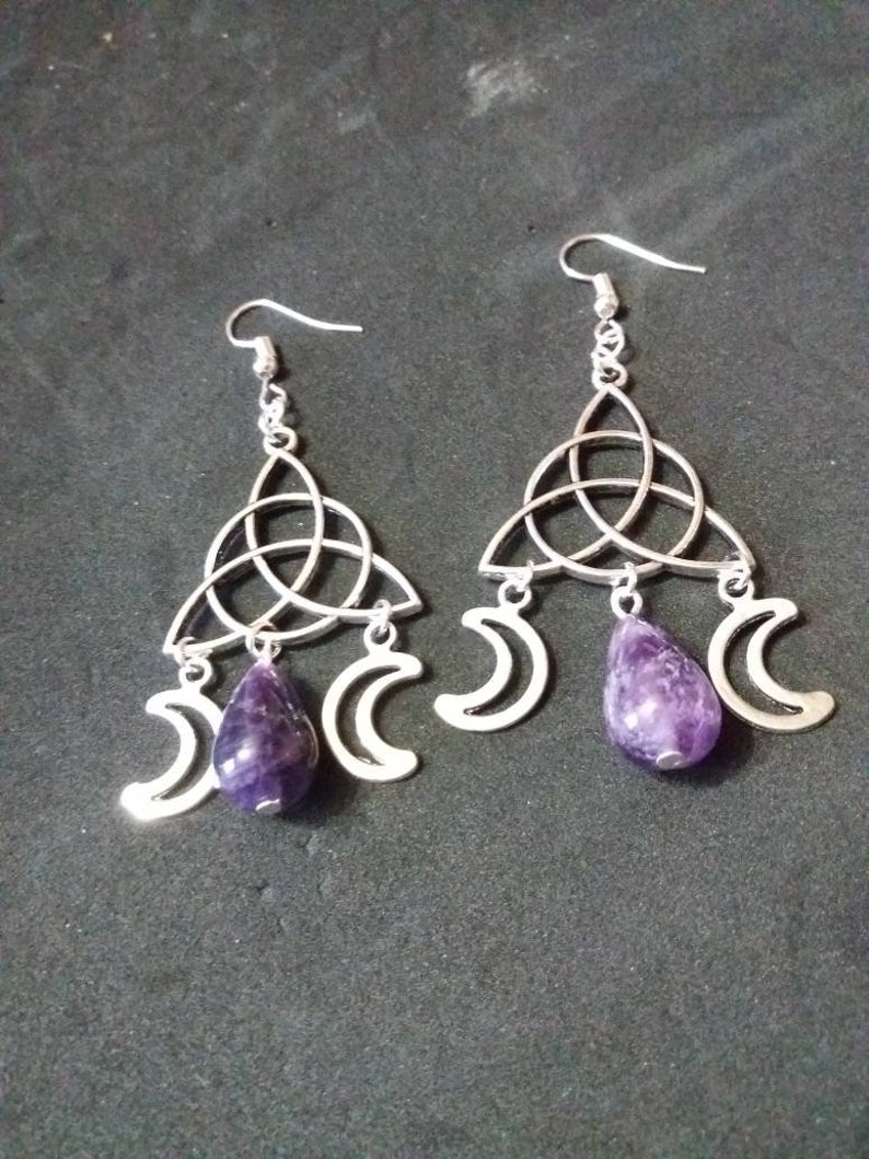 Set Earrings necklace natural stone pendant amethyst wiccan jewlery Pagan Necklace