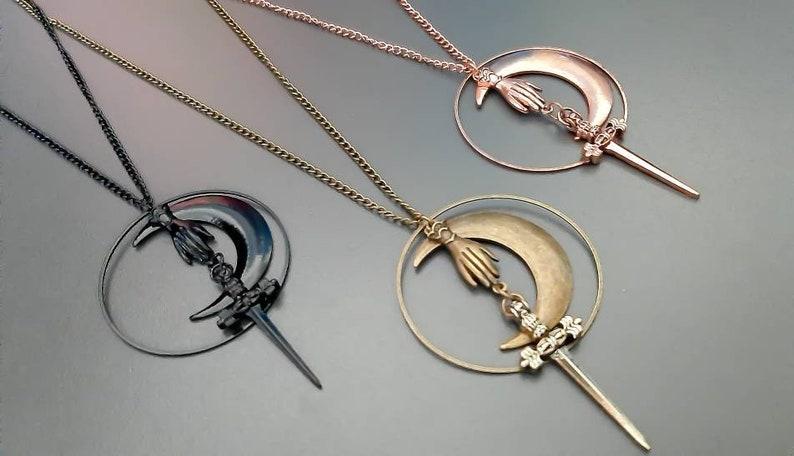 goddess jewlery moon jewlery necklace goddess Hecate symbol witch jewlery