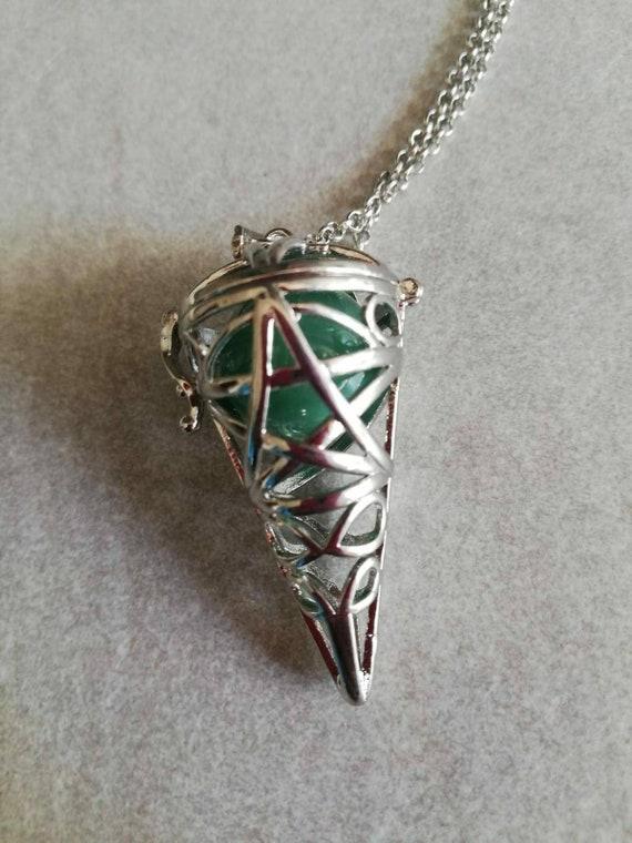 Penticle Necklace Amethyst Rose Quartz Gemstone Pagen Wiccan Pendulum