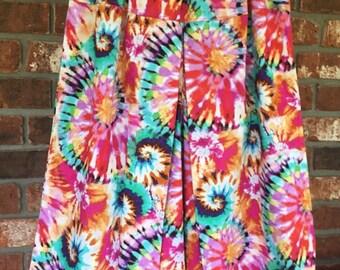 Girls size 12 - box pleat culottes  - Tie dye multi colored -