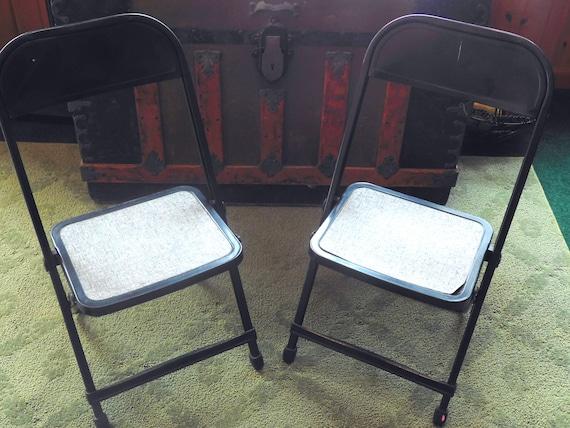 Stupendous Vintage Hampden Style Child Folding Chair Set Lawn Chairs Metal Black And Gray Matching Set Machost Co Dining Chair Design Ideas Machostcouk