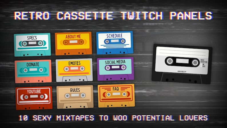 Retro Cassette Twitch Panels