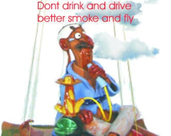 "Incense burner ""Aladin"" smokes his Shisha-pipe on a flying carpet"