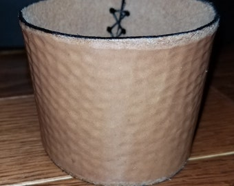 Hammered Coffee Sleeve, OOAK leather, hand tooled and branded