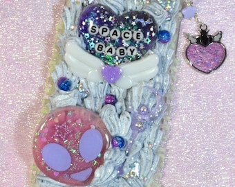 Space Baby iPhone 6 Plus Decoden Case with Glow in the Dark Drip Sauce and Bezel Charm
