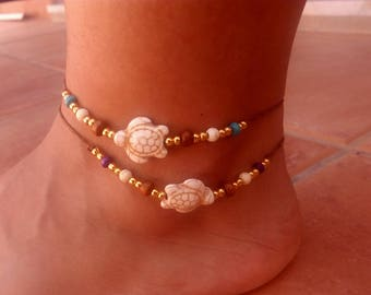 Summer anklet bracelet with a turtle