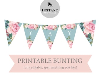 Printable bunting etsy printable bunting birthday decorations instant download bunting template triangle bunting flap template pink white garden party maxwellsz