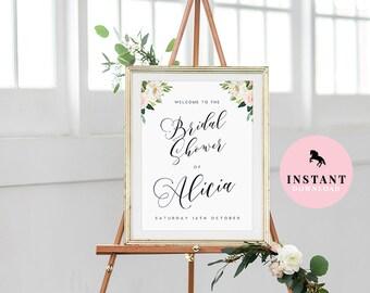 bridal shower welcome sign instant download editable leaves poster bridal shower sign personalized bridal shower sign bridal shower poster