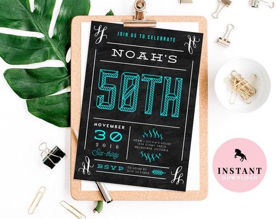 50th Birthday Invitation Invite Template Mans