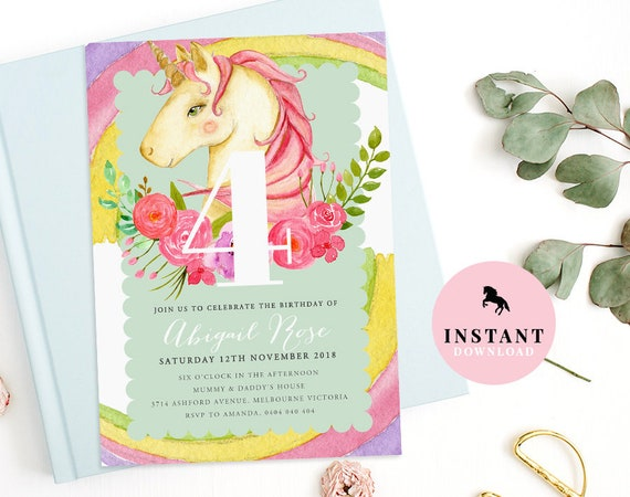 Unicorn Birthday Invitation INSTANT DOWNLOAD Pink