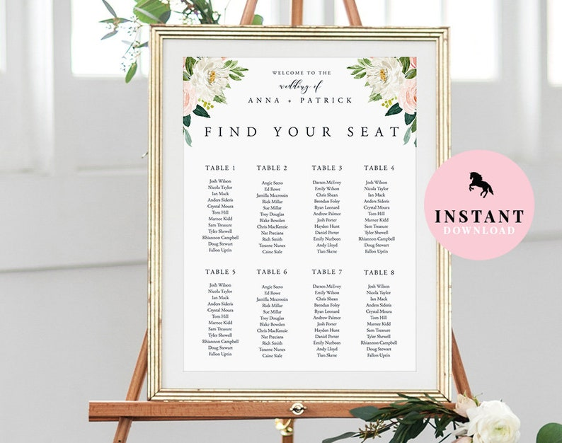 Seating Chart Wedding Sign INSTANT DOWNLOAD