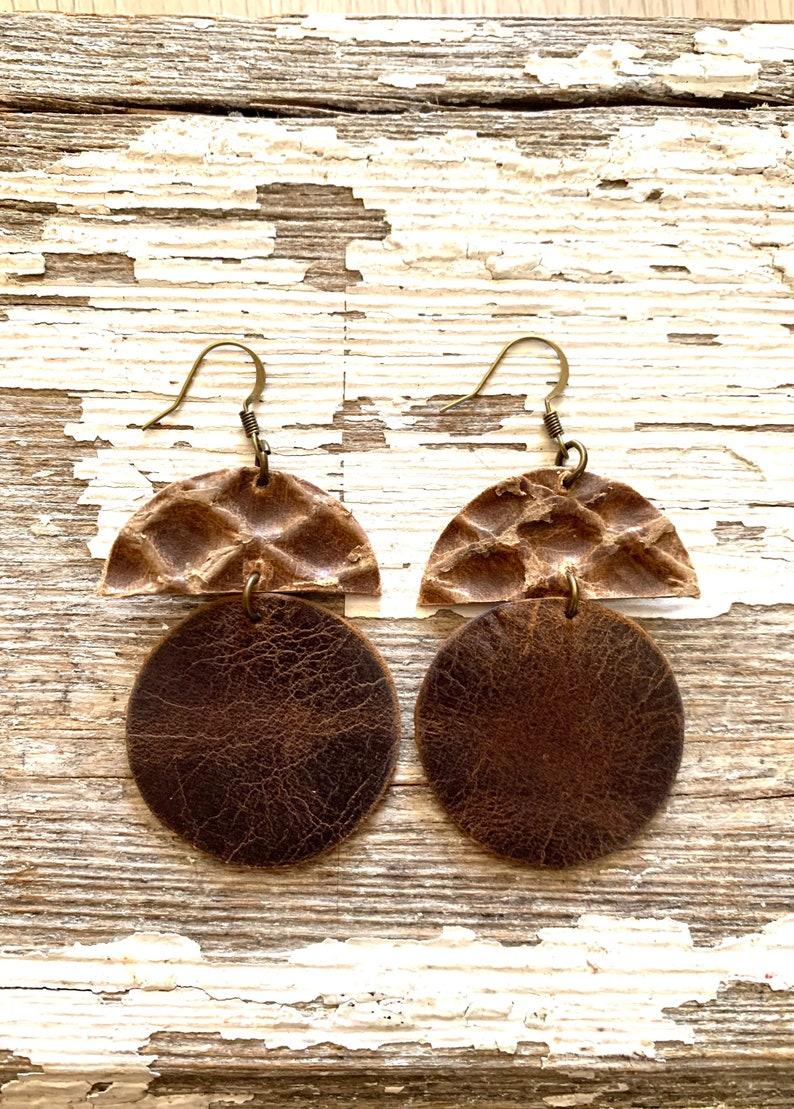 Cowgirl Jewelry Leather Earrings Pierced Leather Dangle and Drop Earrings Rustic Earrings Rodeo Western Jewelry