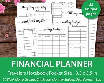 Printable Financial Planner Budget Travelers Notebook Pocket InsertPocket Inserts Expense Tracker