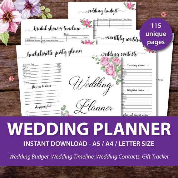 Wedding Planner Printable Wedding Binder Printables