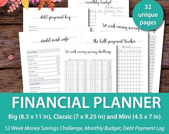 Budget Binder, Monthly Budget Planner, Happy Planner Budget Inserts, Happy Planner Printables, Mini Happy Planner Inserts