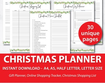 Printable Holiday Planner, Holiday Planner 2017, Christmas Planner Printable, Holiday Planner Printable, A5 Christmas Planner Printable