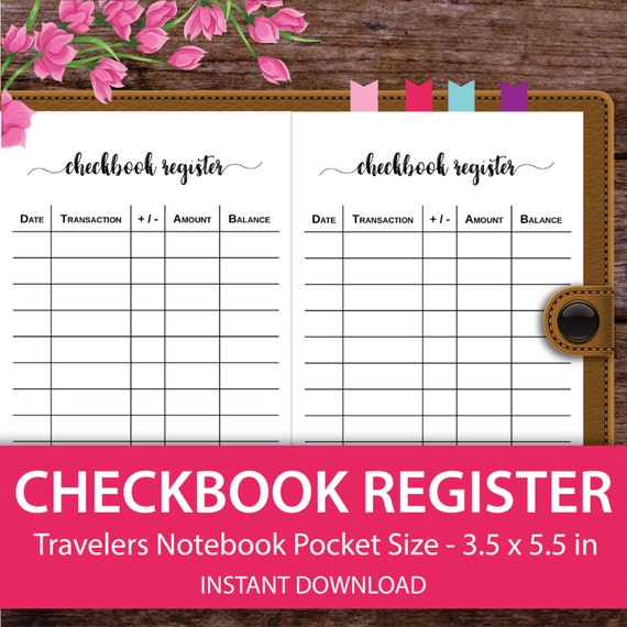 checkbook register check register travelers notebook planner etsy