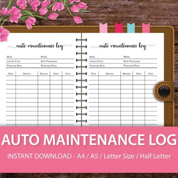 car maintenance log car maintenance schedule car maintenance etsy