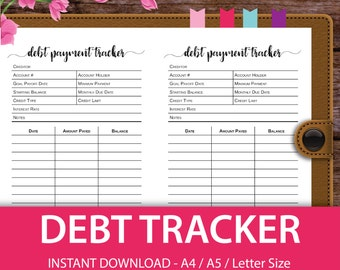 Debt Tracker, Debt Snowball, Debt Repayment, Finance Printable, A5 Planner Pages, A5 Ring Binder, A4 Planner, Happy Planner Big, A4 Notebook