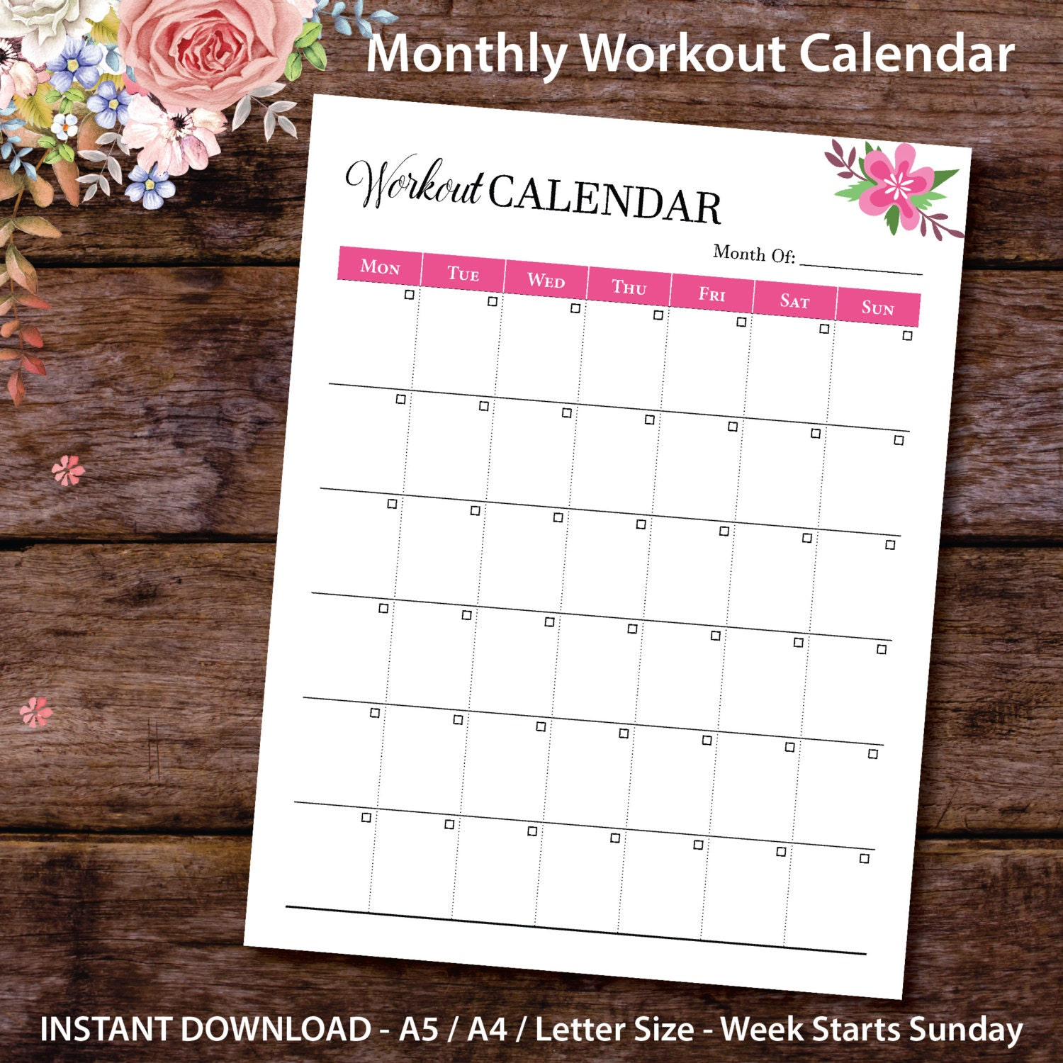 Monthly Workout Calendar Planner Insert Printable Monthly