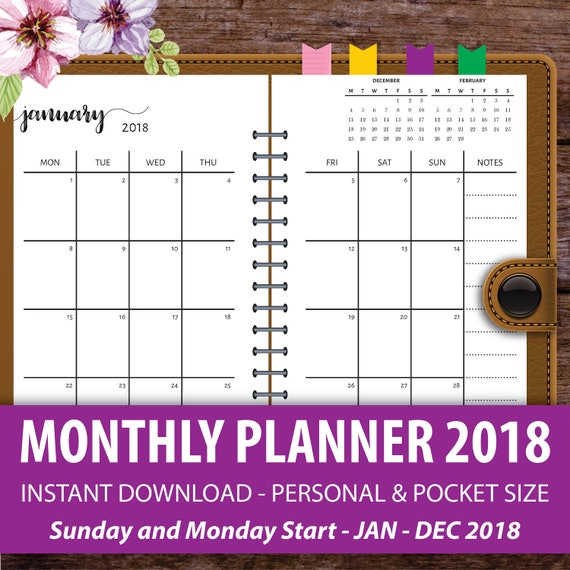 printable monthly planner 2018 monthly calendar planner etsy