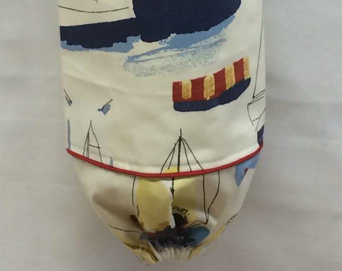 Plastic Bag Holder, Grocery Bag Holder, Fabric,  Kitchen Organizer, Bag Storage, Housewarming Gift, Nautical Decor, Sailboats, Bag Dispenser