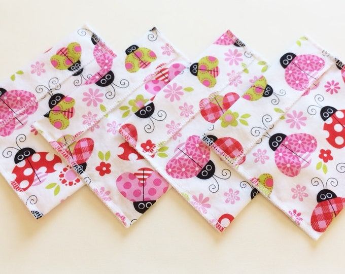 Snack Bag, Sandwich Bags, Zero Waste, Eco Friendly, Reusable Sandwich Bag, Reusable Snack Bag, Gift for Kids, Back to School, Ladybugs, Pink