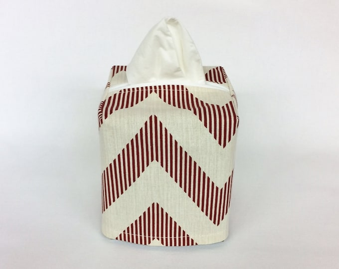 Tissue Box Cover, Tissue Box Holder, Tissue Cover, Red Chevron, Living Room Decor, Room Decor,