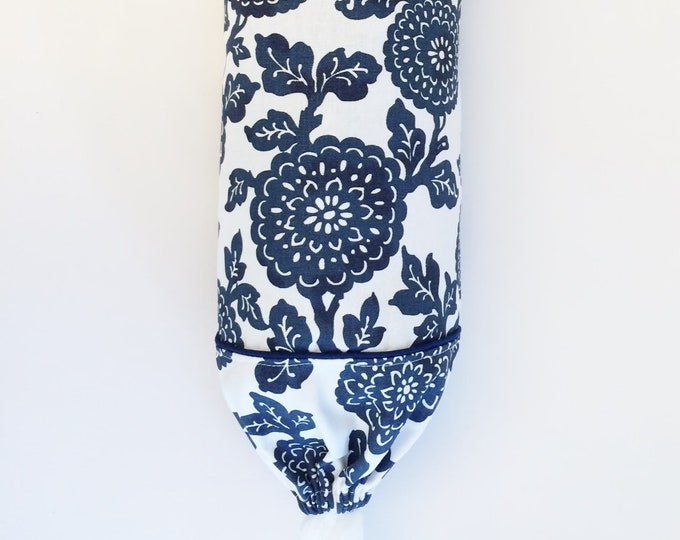 Plastic Bag Holder, Grocery Bag, Holder, Dispenser, Fabric, Blue, Floral, Storage, Farmhouse, Kitchen, Country,