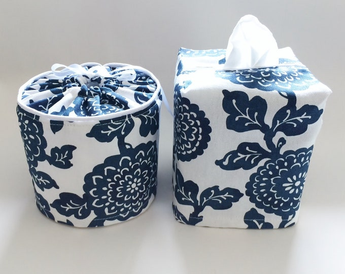Tissue Box Cover, Fabric, Toilet Paper Holder, Floral, Toilet Paper Cover, Bathroom Decor, Tissue Box Holder, Bathroom Set, Blue,