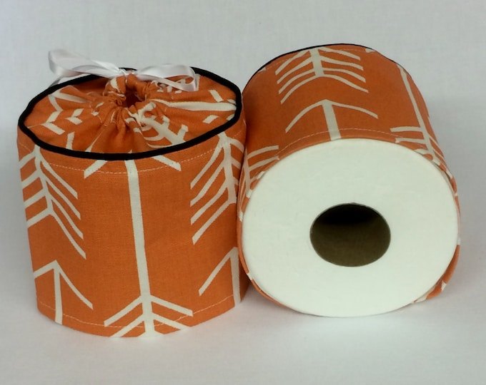 Orange Toilet Paper Cover, Arrows, Fall Decor, Autumn, Toilet Roll Cover, Farmhouse Bathroom Decor, Toilet Paper Storage, Spare Roll Cover,