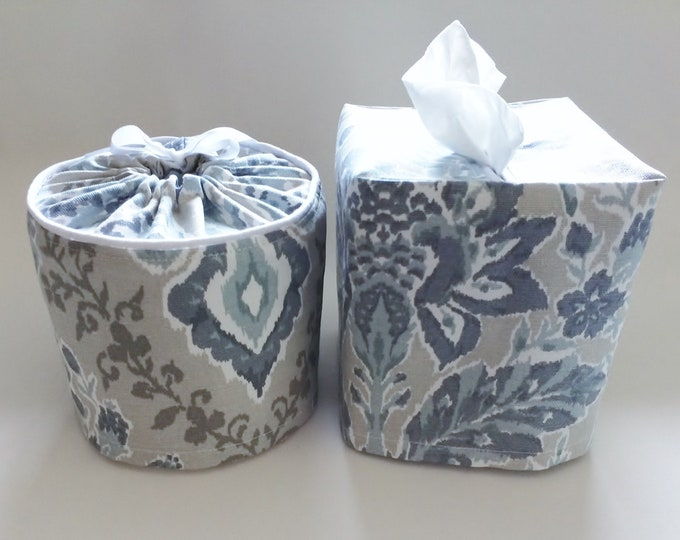 Tissue Box Cover, Fabric, Toilet Paper Holder, Toilet Paper Cover, Bathroom Decor, Tissue Box Holder, Bathroom Set, Blue, Farmhouse Decor,