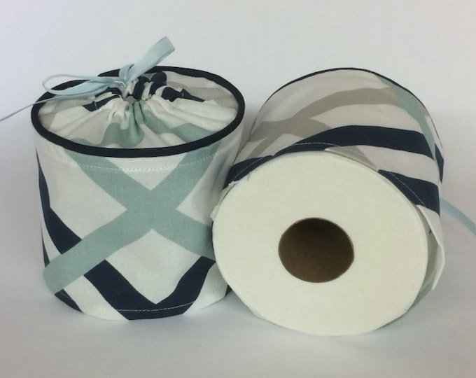 Toilet Paper Cover, Nautical Bathroom, Blue and White,