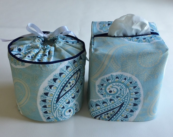 Bathroom Decor, Toilet Paper Cover, Tissue Box Cover, Toilet Paper Holder, Tissue Box Holder, Bathroom Set, Housewarming Gift, Blue, Paisley
