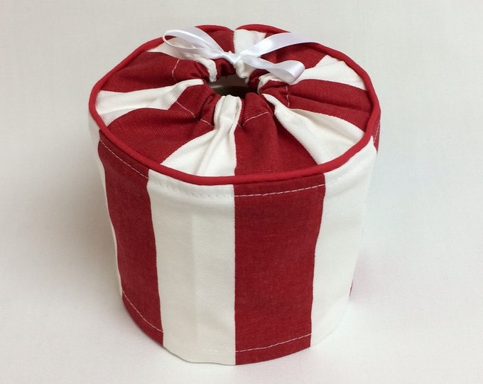 Toilet Paper Cover, Toilet Paper Storage, Red and White, Bathroom Storage,