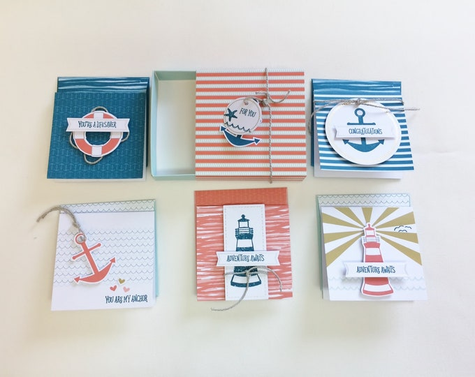 Thank You Gift Set, Best Friend Gift Nautical, Blank Note Cards Gift for Wife,