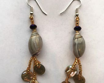 Olive Shell Earrings with Golden-Yellow Beads and Abalone Shell